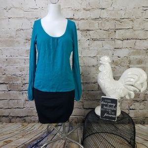 Joseph A Teal Sweater Bell Sleeves Career Party M